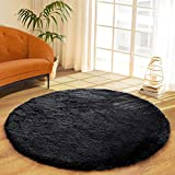 DETUM Soft Round Fluffy Bedroom Rugs for Girls Boys, Fuzzy Circle Area Rug for Nursery Playing Reading Room, Kids Room Carpets Shaggy Cute Rugs for Dorm Bedside Home Dcor, 4 Feet, Black