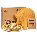 """Cuzi Gourmet XL 3-Piece Pizza Stone Set - 15"""" Thermal Shock Resistant Cordierite Pizza Baking Stone, 22"""" Natural Bamboo Pizza Peel & Pizza Cutter Rocker - Large Pizza Stone for Grill and Oven"""