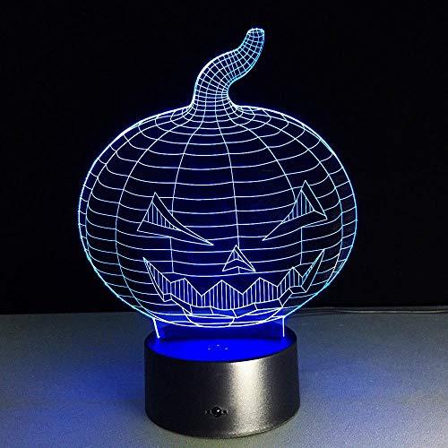 ilusión 3D lámpara para habitación infantil Pumpkin skull luz nocturna remoto para sala de estar, bar, regalo juguetes para niños y niñas Con carga USB, control táctil de cambio de color color
