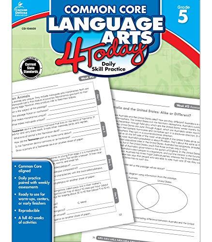 Carson Dellosa   Common Core Language Arts 4 Today Workbook   5th Grade, 96pgs (Common Core 4 Today)