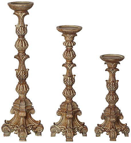 Kensington Hill Exotic Carved Pillar Candle Holders - Set of 3