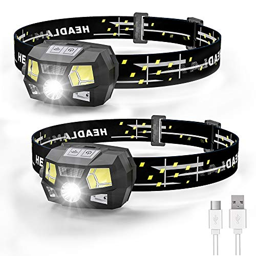 Rechargeable Headlamp, Ultra Bright 600 Lumen White LED Spotlight Headlamp with Red Light & Motion Sensor, Waterproof Lightweight for Kids Adults Camping Fishing (Built-in Battery), 2 Pack