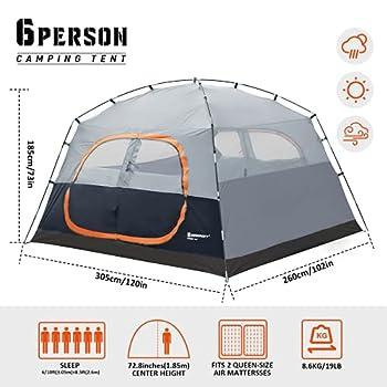 Bessport Tente Familiale pour 6 Personnes Tente de Camping Etanche 3-4 Saisons Tente Dôme Facile à Installer pour Les Activités de Plein Air Festival Camping
