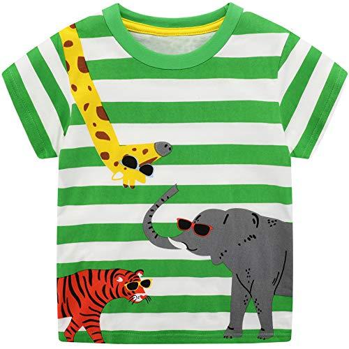 FILOWA Niño Camiseta Manga Corta Algodon Camisetas Elegante Verano Casual Dibujos Verde Raya Ropa Chico Sudadera Deporte Chandal Tigre Elefante Jirafa Impresión1 2 3 4 5 6 7 Años