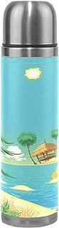 FENNEN Thermos Water Bottle Vacuum Flask Cup Art Summer Bird Tree Steel Jug for 500ML Coffee Tea