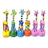 YeahiBaby 6 pz Bambini Giraffa in Legno Giocattolo premere Base Pollice burattini in Piedi...