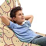 ABAKUHAUS manzana Bolsa para Juguetes Tipo Tumbona, Comer orgánica de dibujos animados, Organizador de Peluches Gran Capacidad con Manija, Manzana verde amarillento Rojo