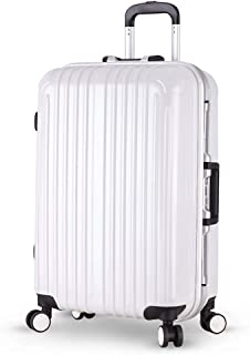 XLHJFDI Bussiness Suitcase Bag, Large Suitcase,Lightweight Travel Rolling Trolley Case,ABS+PC,with TSA Lock,28inch (Color : White)