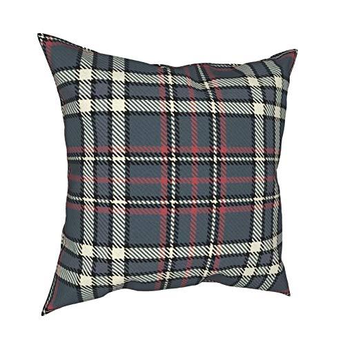 Uliykon Fundas de cojín decorativas de cuadros grises y rosas, color crema y negro, fundas de almohada para sofá, dormitorio, coche, con cremallera invisible, 45,7 x 45,7 cm