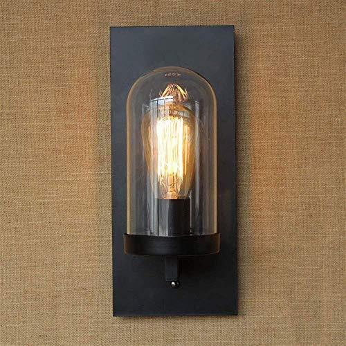 Industriële vintage-stijl LED-wandlamp wandmontage mat zwart helder glas scherm voor tv-wand, hotel, slaapkamer, woonkamer