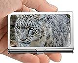 Titular de la tarjeta del nombre comercial, Noble, mancha, caja de tarjeta de visita de leopardo blanco Titular de la tarjeta de acero inoxidable