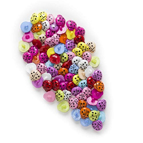 HAIXUE 50pcs Botones de Resina de Ladybug Ladybug Hogar Decoración de Coser Scrapbooking Tarjeta de Ropa Fabricación DIY 16x15mm (Color : Multi-Colored)