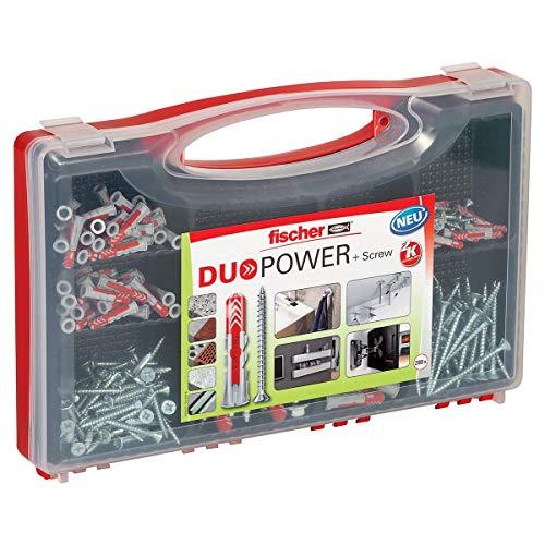 fischer RED-BOX DUOPOWER + Schrauben, Sortimentbox, 280-teilig mit Schrauben & DUOPOWER Dübeln in verschiedenen Größen, vorsortiertes Set für zahlreiche Baustoffe und Befestigungen