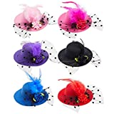 Tiny Tea Party hats for Girls, Women, Fancy Mini Decorative Hair Clips (4 inch, 6 Pack)