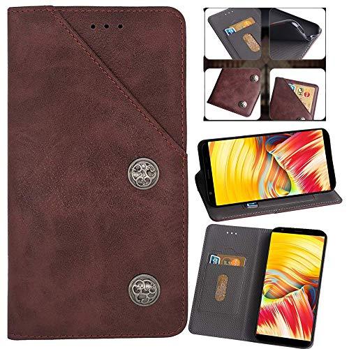 QHTTN Flip Premium Retro Echt Leder Tasche Hülle TPU Silikon Für Asus Zenfone 3 Deluxe ZS550KL ZS550ML Lederhülle Handyhülle Schutzhülle Handy Schale Etui Brieftasche Cover Hülle (Rot)