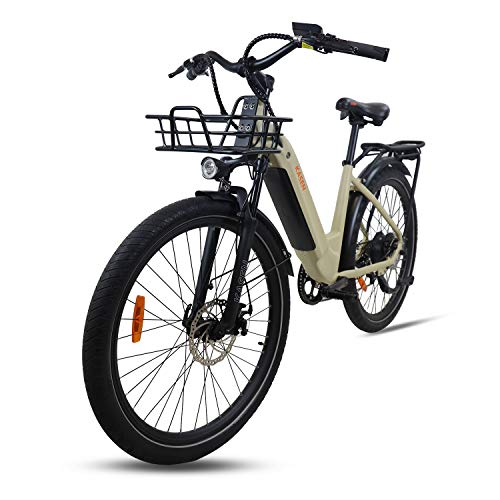 kasen City Bike 26' Electric Bicycle Step Thru Ebike 500w Rear Drive 21Mph with Coved 48v 14ah Lithium Battery 7 Speed Gears Thumb Throttle and Pedal Assistant Street Tire (Sand)