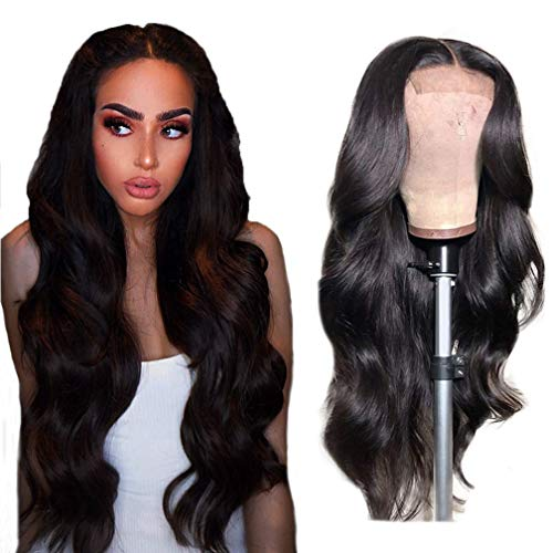 Human Hair Wigs for Black Women Body Wave 4x4 Lace Closure Wig 26 Inch Brazilian Virgin Real Hair Glueless Body Wave Wigs Natural Black 150% Density