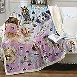 french bulldog fleece fabric - Sleepwish Pastel Purple Dog Paw Print Fleece Blanket Sherpa Throw Blanket Puppy Animals Printed Super Soft Fuzzy Reversible Plush Blankets for Bed Sofa Throw (50