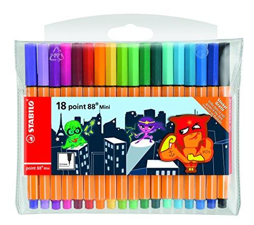 Stabilo Point 88 Mini Heroes Filzstifte-Set, 0,4mm, verschiedene Farben, Packung mit 18 Stück