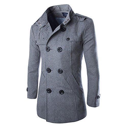 HUASHI Manteau coupe-vent en laine à double boutonnage pour homme - Gris - Large