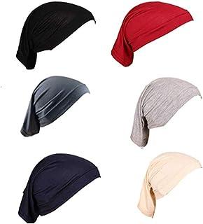 غطاء تحت الحجاب للنساء يفيد كوشاح وقبعة وغطاء راس تحت الحجاب الاسلامي يغطي العنق، 6 قطع