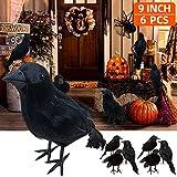 ALLADINBOX 6 PCs 9 Inch Halloween Black Feathered Crows...
