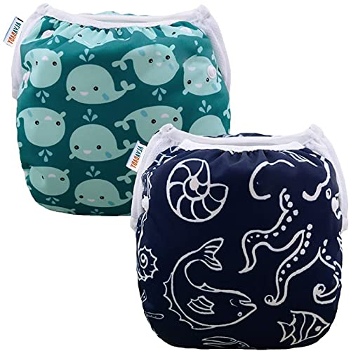 Product Image of the ALVABABY Swim Diapers 2pcs Reusable & Adjustable Baby Shower Gifts 0-2 Years...