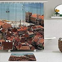 WOTAKA シャワーカーテン バスマット 2点セット 屋上と海の旧市街ノスタルジックな街と中央リスボンポルトガルのビュー 自家 寮用 ホテル 間仕切り 浴室 バスルーム 風呂カーテン 足ふきマット 遮光 防水 おしゃれ 12個リング付き