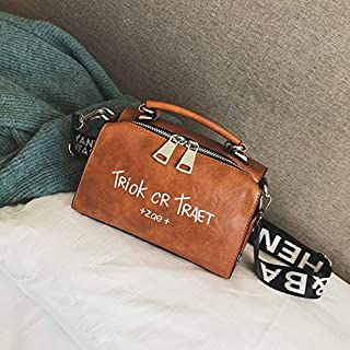 Adebie - Women Shoulder Messenger Bag Boston Handbag Fashion Letter Printing Halloween Tote Bags Wide Strap Crossbody Bag for Women Sac 22cm12cm16cm Brown []