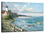 Anolyfi Lighthouse Canvas Wall Art Modern Blue Ocean Painting Seascape Picture Natural Scenery Prints Artwork Framed for Bathroom Living Room Bedroom Dinning Room Home Office Decor, 36'X24' One Panel