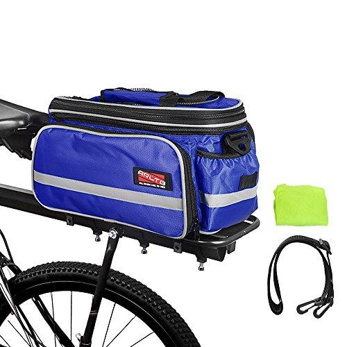 Arltb Bike Rear Bag 20-35L Waterproof Bicycle Trunk Bag with Rain Cover Shoulder Strap Bike Pannier Tail Back Seat Bag Package Handbag Bike Accessories for Road Bikes Mountain (Blue-)