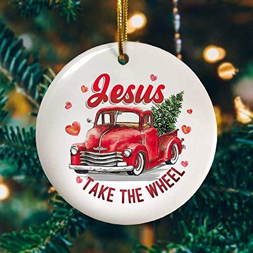 VinMea Christmas Ornament Jesus Take The Wheel Ornament Keepsake Decorative Funny Holiday