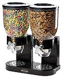 Doble almacenador negro, dispensador de cereales para alimentos secos. Organizador de cereales con diseño moderno y cierre hermético y de calidad premium fabricado por Sourcediy.