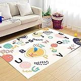Alfombra salón Pelo Corto Rompecabezas del patrón del Alfabeto inglés Fácil de Limpiar Decoracion Dormitorio alfombras Infantil 140×200CM (4ft7 x 6ft6)