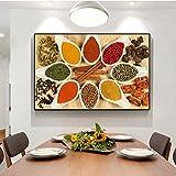GJQFJBS Herbes Et Épices dans La Cuisine Peintures sur Toile sur Le Mur Art Affiches Et Impressions Cuisine Thème Art Photos Décoration Réplique (sans Cadre) 60x100CM