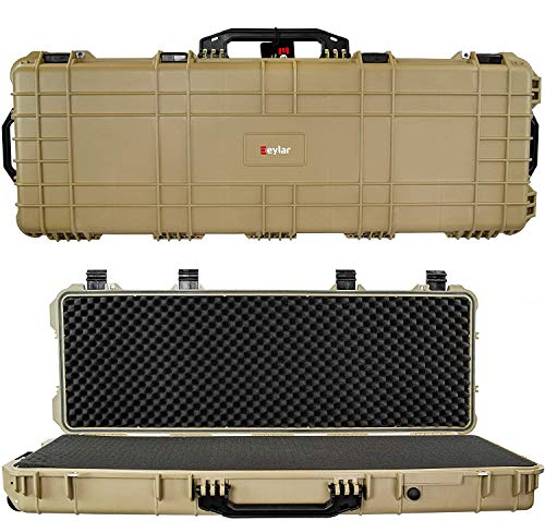 Eylar 48' Inch Protective Roller Tactical Rifle Hard Case with Foam, Mil-Spec Waterproof & Crushproof, Two Rifles Or Multiple Guns, Pressure Valve with Lockable Fittings Tan FDE