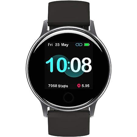 スマートウォッチ UMIDIGI Uwatch 2S 活動量計 歩数計 5ATM防水 撮影リモート 音楽再生コントロール 着信通知 座り立ち注意 日本語アプリ バッテリー持ちiphone&Android対応 男女兼用スマート ウォッチ(スペース グレー)