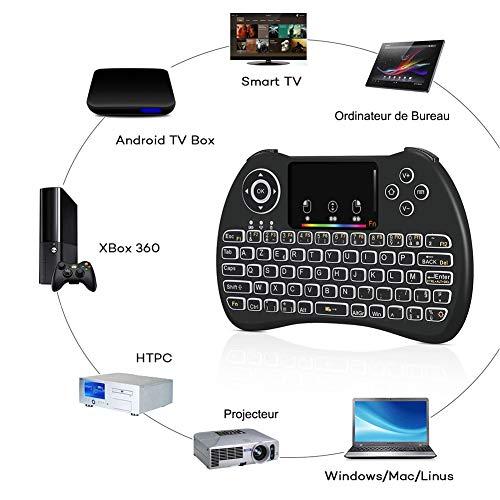 Mini Clavier Sans Fil, Clavier Français Wireless, 2.4GHz AZERTY, Ergonomique sans Fil avec Écran tactile Touchpad,Rétro-éclairé pour Smart TV, Android, TV,Box , PC , Ordinateur, Projecteur, etc -Noir