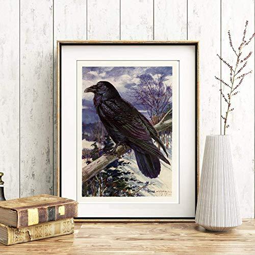 Din A4 Kunstdruck ungerahmt - Vintage Rabe Krähe Antik Retro Landschaft Vogel Druck Poster Bild