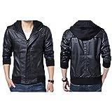Men's Detachable Slim fit Black Marble Faux Leather Moto Hooded Bomber Jacket (XXX-Large)