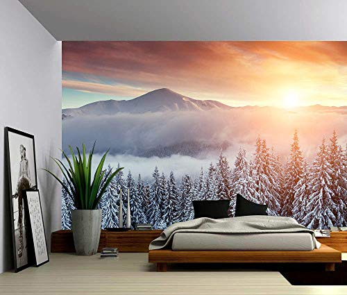 Fotobehang Fotobehang Sneeuw Berg Zonsondergang Muurposter Muurstickers Home Decor Vinyl Verwijderbaar Decor-300x210 cm (118.1 by 82.7 in)