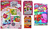 Shopkins Coloring and Activity Set of 4 Items: Coloring and Activity Book, Large Deck of Cards, Play Pack with Stickers, and Pack of Crayons