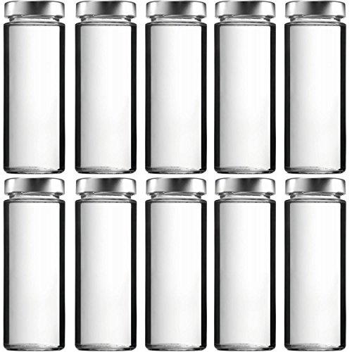 mikken 10 x Smoothieflasche 380 ml Glasflaschen mit PVC-freiem Schraubverschluss, inkl. Trichter