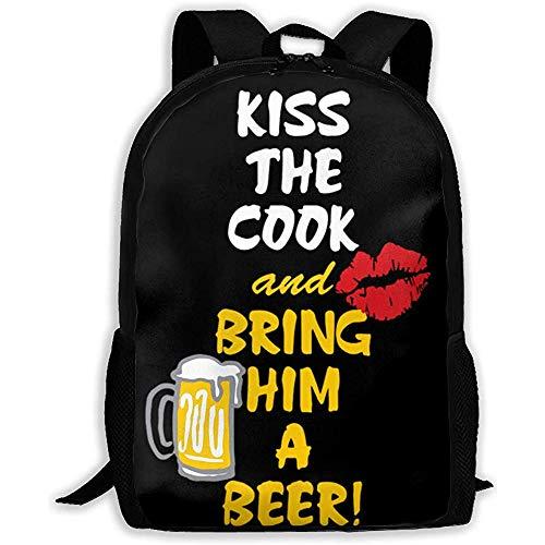 Unisex Adult Backpack Küssen Sie den Koch und bringen Sie ihm EIN Bier Bookbag Reisetasche Schultaschen Laptoptasche