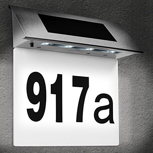 Deuba Hausnummer beleuchtet Solar Edelstahl LED Dämmerungssensor witterungsbeständig Hausnummernschild Solarhausnummer