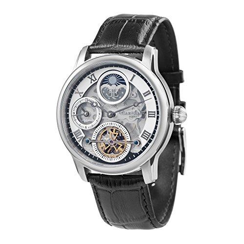 Thomas Earnshaw Longitude Shadow ES-8063-01 herenhorloge met automatische transmissie, zilveren wijzerplaat met skeletweergave, zwart lederen armband
