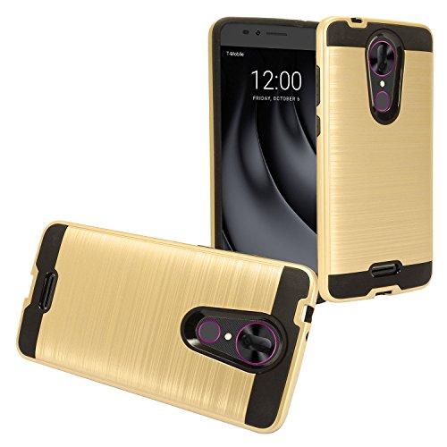Z-GEN - for T-Mobile REVVL Plus 6.0' 3701A - Brushed Style Hybrid Dual Layer Protective Hard Case - Black/Gold