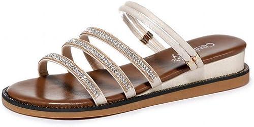 LTN Ltd - sandals Sandales de Plage Strass, Strass, été Balnéaire, Chaussures de Femmes Simples, Portant des Sandales Et des Pantoufles, Chamois, 39  meilleur service
