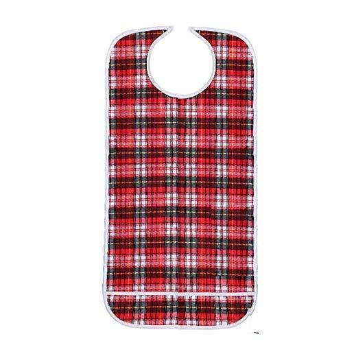 DOCA Erwachsenen Lätzchen für Senioren doppelte Schicht wasserdicht mit Displayschutzfolie wiederverwendbar Kleidungsschutz Lätzchen Schürze für ältere Männer Frauen(rot)