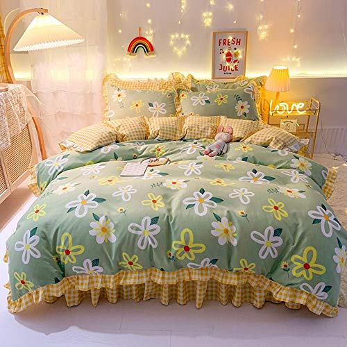 Sanding Thick Korean Princess Wind Small Fresh Bed Linen Skirt Under Paragraph Bedding A Family Of Four,Greenery,1.8 Dress Section